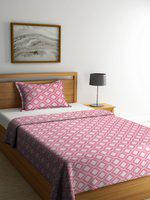 NEUDIS Coral Pink & White Printed Single Bed Cover with 1 Pillow Cover