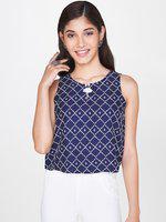 Global Desi Casual Sleeveless Printed Women Dark Blue Top