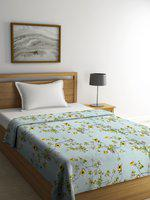 Cortina Turquoise Blue Ethnic Motifs AC Room 233 GSM Single Bed Blanket