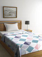 Cortina Multicoloured Geometric AC Room 233 GSM Single Bed Blanket