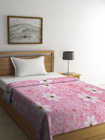Cortina Pink Floral AC Room 233 GSM Single Bed Blanket