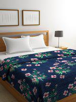 Cortina Navy Blue & Pink Floral Motifs AC Room 233 GSM Double Bed Blanket