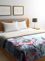 SPACES Blue & Black Floral Print AC Room 300 GSM Double Bed Quilt