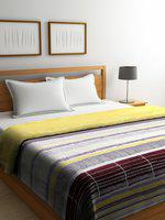 SPACES Brown & White Geometric Mild Winter 150 GSM Double Bed Quilt