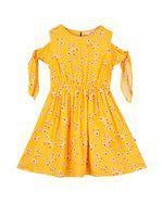 Budding Bees Girls Midi/Knee Length Casual Dress(Yellow, Sleeveless)