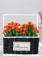 TIED RIBBONS Green & Orange Artificial Plant With Basket