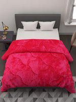 A Homes Grace Pink Solid Heavy Winter 800 GSM Reversible Double Bed Quilt