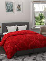 A Homes Grace Red Solid 800 GSM Heavy Winter Double Bed Quilt