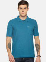Dollar Bigboss Men Turquoise Blue Solid Polo Collar T-shirt