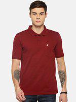 Dollar Bigboss Men Maroon Solid Polo Collar T-shirt