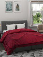 A Homes Grace Maroon Solid Heavy Winter 600 GSM Double Bed Quilt