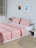 House This Leheriya White & Peach-Coloured Printed Double Bed Cover With 2 Pillow Covers