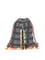 The House of Tara Handloom Fabric Embellished Slim 4 L Backpack(Black, White)