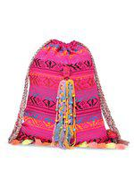The House of Tara Embellished Handloom Slim 4 L Backpack(Multicolor, Pink)