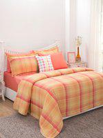 Maspar Red & Orange Checked AC Room 7 Pc Bedding Set