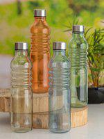 GOODHOMES Set of 4 Glass Bottles with Airtight Cap