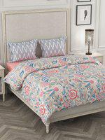 Portico New York Off-White & Blue Printed Bedding Set