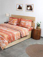 House This Orange & White Printed Double Bed Duvet Cover