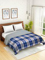 WELHOME Blue & Grey Checked AC Room 110 GSM Double Bed Quilt