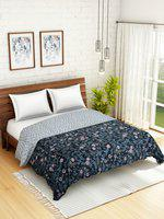 WELHOME Grey Floral AC Room 110 GSM Double Bed Quilt