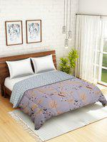 WELHOME Beige & Maroon Floral AC Room 110 GSM Double Bed Quilt
