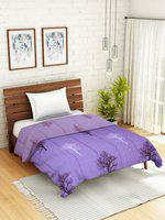 WELHOME Purple & Grey Floral AC Room 110 GSM Single Bed Quilt