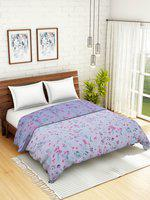 WELHOME Blue & Pink Floral AC Room 110 GSM Double Bed Quilt