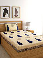 Rajasthan Decor Beige & Blue Abstract 144 TC Cotton 1 Single Bedsheet with 1 Pillow Covers