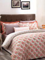 MASPAR Unisex Peach-Coloured & Off-White Printed 210TC Bedding Set