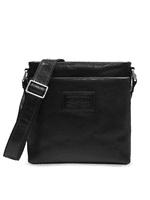 Da Milano Men Black Solid Leather Messenger Bag