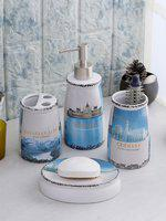 Cortina Set Of 4 White & Blue Printed Resin Bathroom Accessories