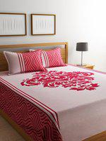ROMEE Red & Pink Woven Design Reversible Double Bed Cover With 2 Pillow Covers