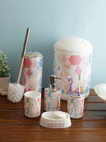Cortina Unisex Set Of 6 White & Pink Printed Plastic Bathroom Accessories
