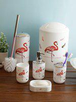 Cortina Unisex Set Of 6 White & Red Printed Plastic Bathroom Accessories