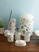 Cortina Unisex Set Of 7 White & Green Printed Plastic Bathroom Accessories