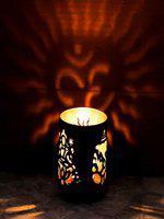 eCraftIndia Brown OM Design Tea Light Holder