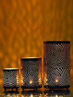 eCraftIndia Set of 3 Decorative Mesh Design Iron Tea Light Holder in Cylindrical shape