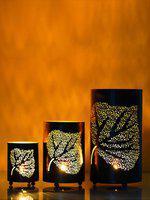 eCraftIndia Set of 3 Decorative Mesh Design er Leafs Iron Tea Light Holder