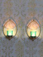eCraftIndia Set of 2 Black Wall Sconce Tea-Light Candle Holders