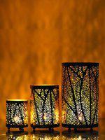 eCraftIndia Set of 3 Brown Decorative Mesh Design Cylindrical Tea Light Holder
