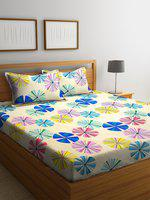 Home Sizzler Yellow & Blue Abstract 144 TC Polyester 1 Queen Bedsheet with 2 Pillow Covers