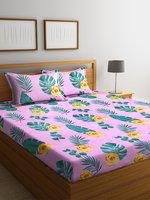 Home Sizzler Pink & Green Floral 144 TC Polyester 1 Queen Bedsheet with 2 Pillow Covers