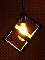 eCraftIndia Gold-Toned & Black Solid Square Shaped Ceiling Lamp
