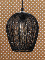 eCraftIndia Black & Transparent Self Design Ceiling Lamp