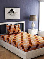 EverHOME Orange & Brown Floral 144 TC Cotton 1 Single Bedsheet with 1 Pillow Covers