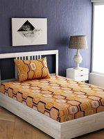 EverHOME Yellow & White Geometric 144 TC Cotton 1 Single Bedsheet with 1 Pillow Cover
