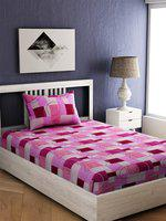 EverHOME Pink & Cream-Coloured 144 TC Cotton 1 Single Bedsheet with 1 Pillow Cover