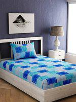 EverHOME Blue & Sea Green Geometric 144 TC Cotton 1 Single Bedsheet with 1 Pillow Cover