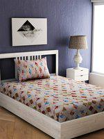 EverHOME Cream-Coloured & Brown Geometric 144 TC Cotton 1 Single Bedsheet with 1 Pillow Covers