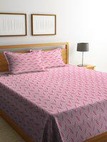 NEUDIS Pink & White Woven Design Elegant Jacquard Premium Cotton Double Bed Cover With 2 Pillow Cover